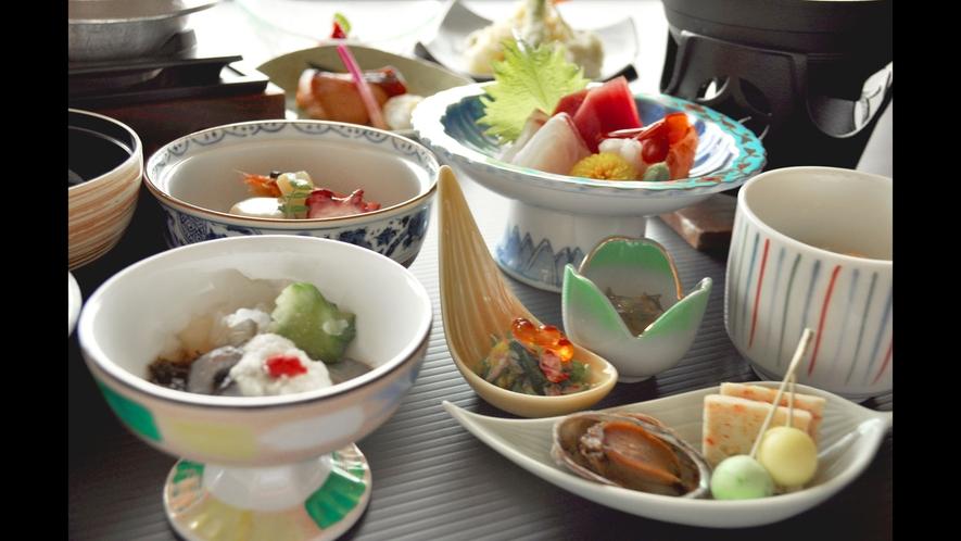 【ご夕食の一例】三陸の旬鮮をふんだんに使った当館自慢のお料理