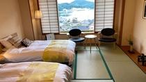 海側和室のベッドルーム「海雲」