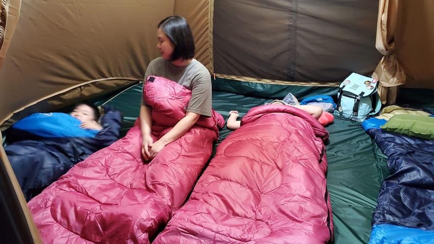 【キャンプ体験プラン】寝袋(シュラフ)は新品をご用意します。ご使用後の寝袋は持ち帰ってもOK!
