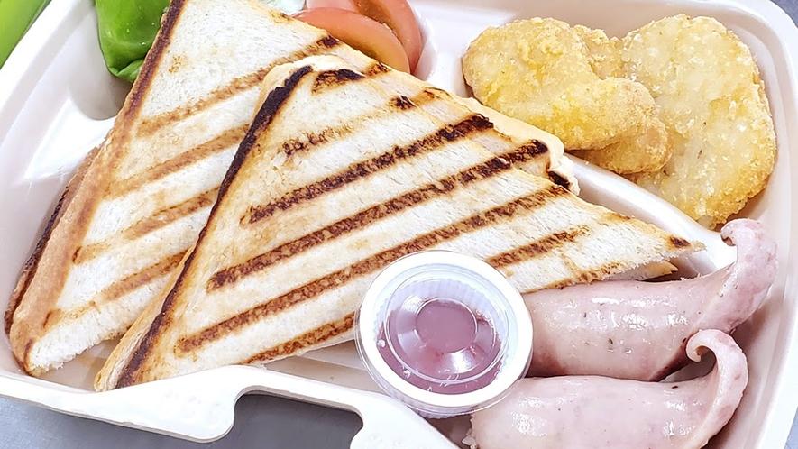 【キャンプ体験プラン】朝食はモーニングBOX(軽食)とコーヒーをご用意いたします。