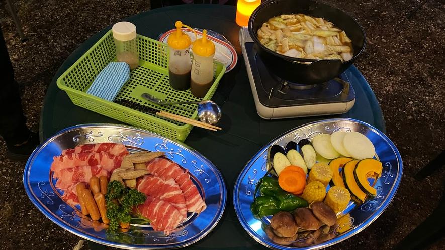 【期間限定BBQプラン】お肉、魚介、野菜の他にほうとう鍋も付いて大満足♪