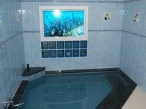 海のお風呂(女湯)では画面に移るお魚と音響でリラックスした空間を演出しております。