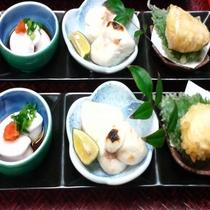 白子三種盛り/左から生白子ぽん酢、白子焼き、白子天ぷら