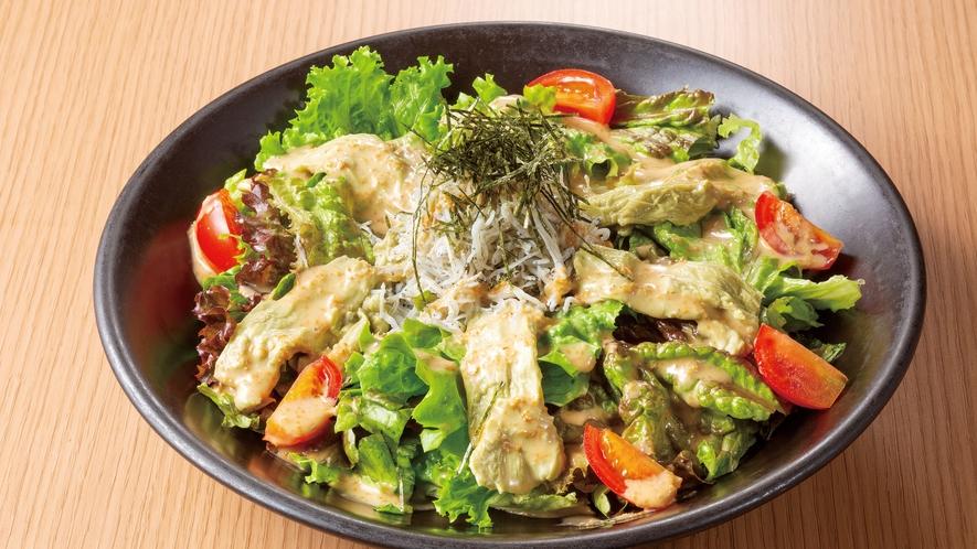日本茶湯葉と釜揚げしらすサラダ