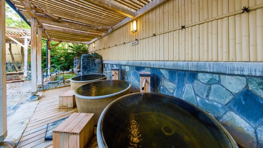 露天風呂  壺風呂 一人で入る壺風呂は、湯を溢れ出させ「ぜいたく感」を味わえます