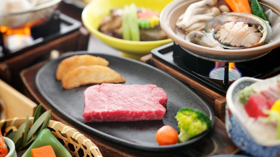 鮑のバター焼き& 国産 和牛鉄板焼きステーキプラン【個室でお食事】