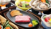 鮑のバター焼き&国産和牛鉄板焼きステーキ会席(一例)