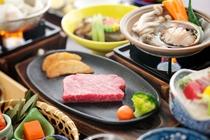 【蚫のバター焼と国産和牛鉄板焼きステーキ会席】