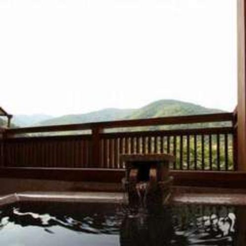 露天風呂と箱根外輪山(そよぎの間-瑞雲)