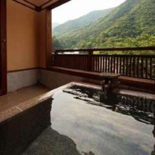 新客室から見た露天風呂と箱根の外輪山(そよぎの間-瑞雲)