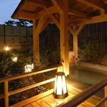 大浴場の露天風呂ライトアップ