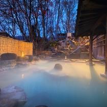 ■露天風呂■ご宿泊のお客様は24時間入浴OK!朝・夕・夜と時間によって異なるお湯景をお楽しみください