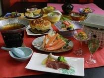 蔵王牛の豆乳鍋とづわい蟹陶板焼き