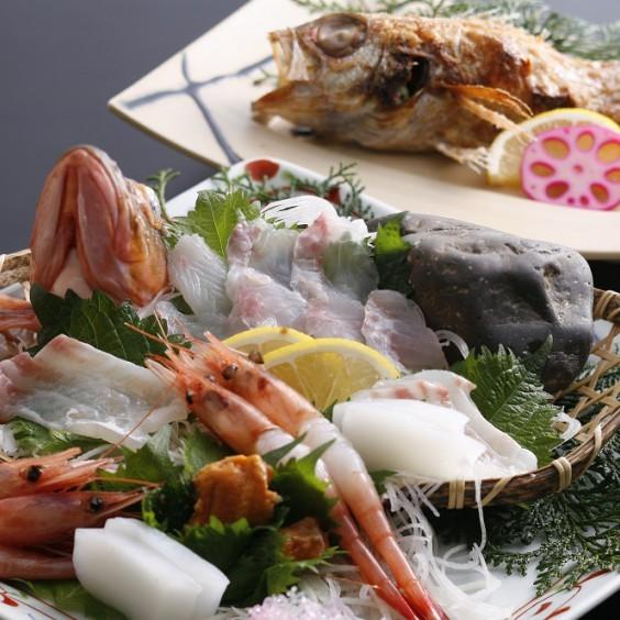 旬魚皿盛りとのどくろ塩焼き