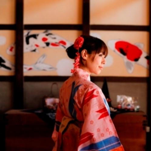 竹田町屋カフェ玄関土間の壁画
