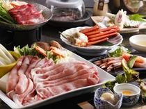 三日月ご膳例:八鹿豚しゃぶ&但馬牛スキ小鍋&紅カニ