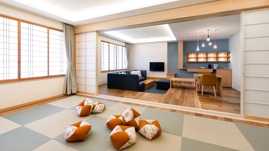 【ジュニアファミリールーム】明るく開放的な客室は76平米です