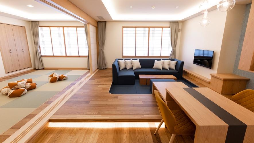 【ジュニアファミリールーム】リビングと和室の二間続きの客室です。