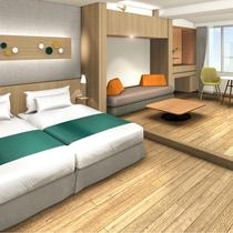 【スタンダードルーム】客室のベッドはハリウッドツインタイプを採用しております。