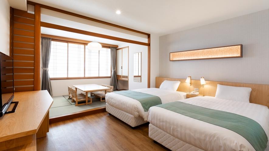 【ユニバーサルツイン】6畳+洋間(ツインベッド)を組み合わせた客室です。