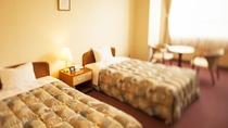 *【新館ツイン】ゆったりベッドの洋室客室。Wi-Fi完備です