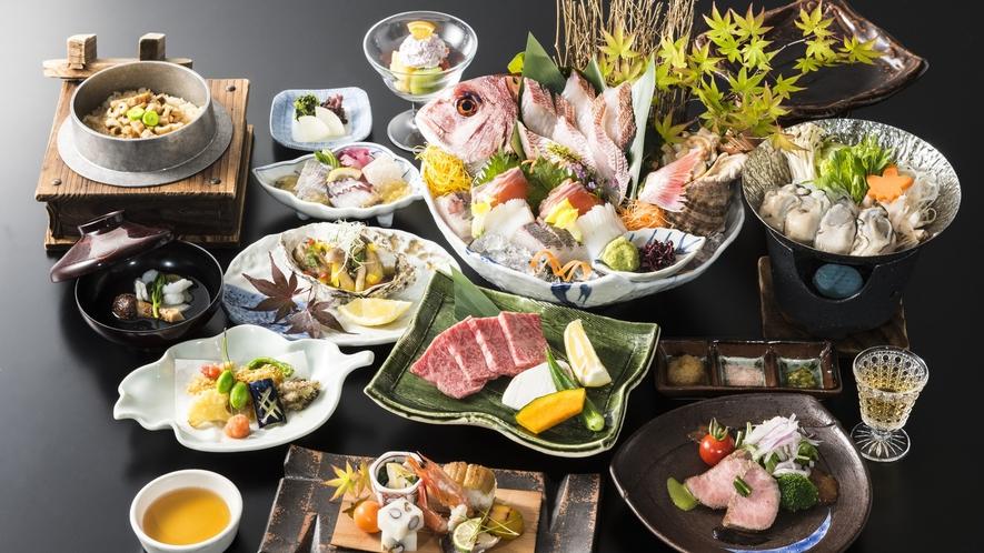 秋料理の一例(広島牛陶板焼付き)