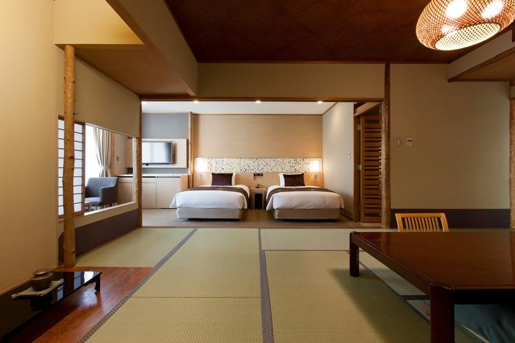 数奇屋造りの和室と、明るく快適なベッドルームを組み合わせた特別な数寄屋和洋室