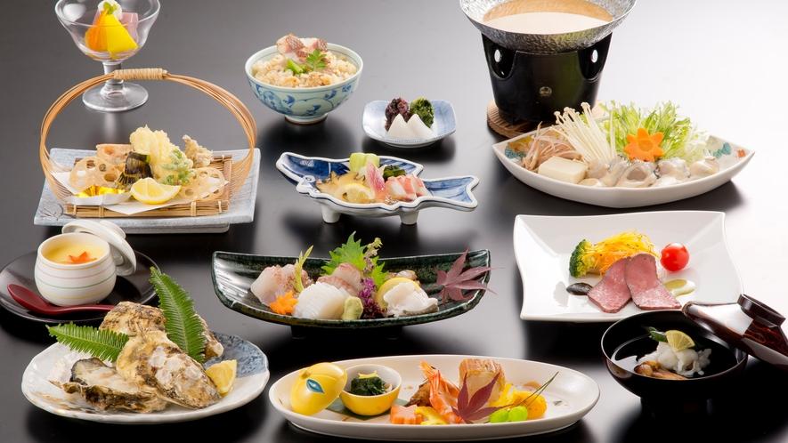 瀬戸内海の幸を盛り込んだ懐石料理