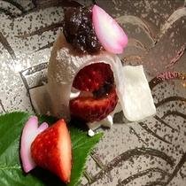 【会席 水菓子(一例)】デザートの手作りいちご大福♪5月までの期間限定♪