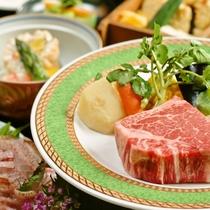 【最上級会席】「朝獲れ鮮魚」と「しまね和牛フィレステーキ」
