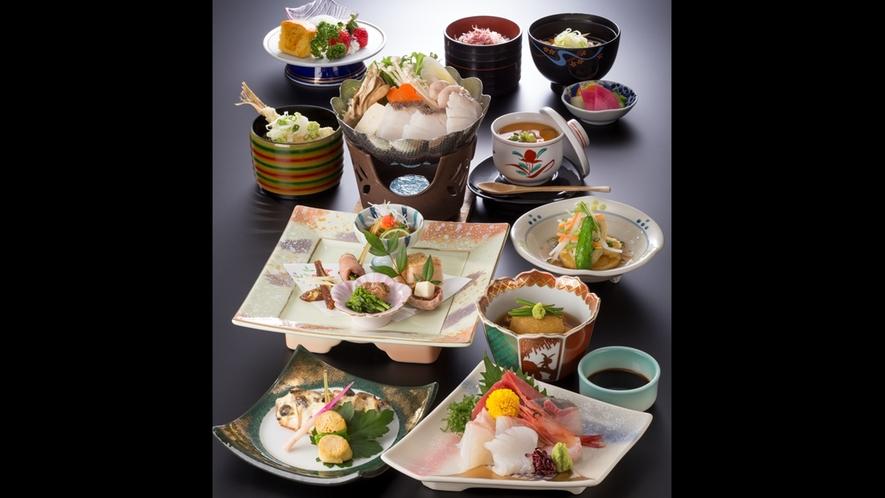 *【夕食(一例)】夕食のお造りの種類が増えて、さらにプラスでもう一品。