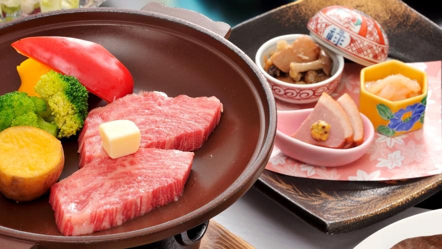 *【夕食一例イメージ】牛肉の陶板焼。