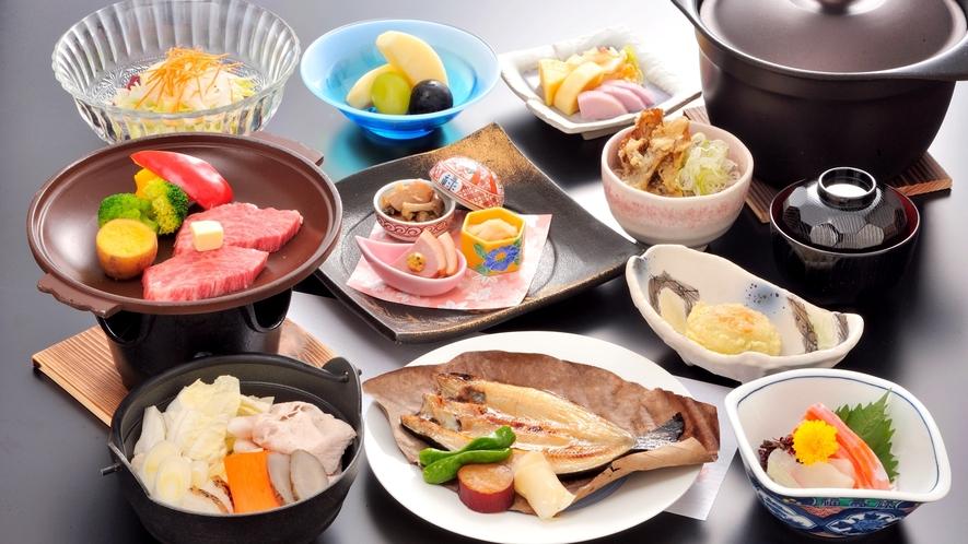 *【夕食一例/翡翠コース】グルメにこだわりお客様にオススメ!ご飯は個別の窯で炊き上げます!