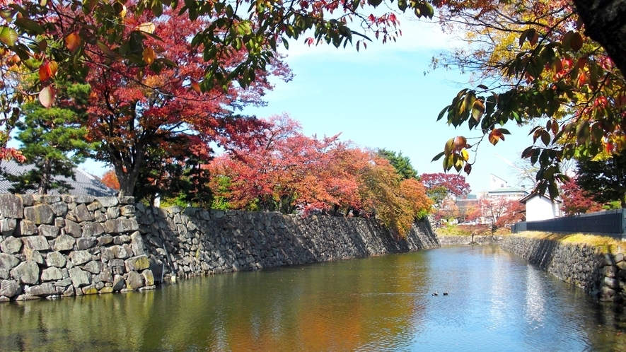 *松本城 紅葉シーズンのお堀/四季の移ろいを楽しめる松本城はSNS映え抜群スポット!