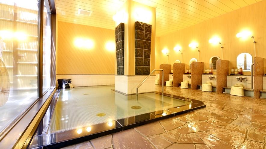 *【中浴場】湯船はやや小ぶりですが、じっくりほのぼのと温泉をお愉しみいただけます。