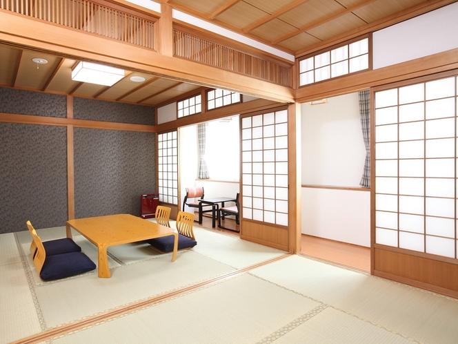 【和室】和室6畳+8畳の落ち着いた佇まいの和室です。5名様までご宿泊可。