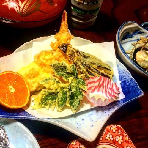 明日葉、海老、野菜の天麩羅