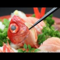 金目鯛のお造り◆身の食感はもっちり、脂には上品な甘さがあります。