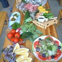 夏場のお楽しみ♪ バーベキューコースの一例 自家製の夏野菜も、たっぷりお召し上がりください