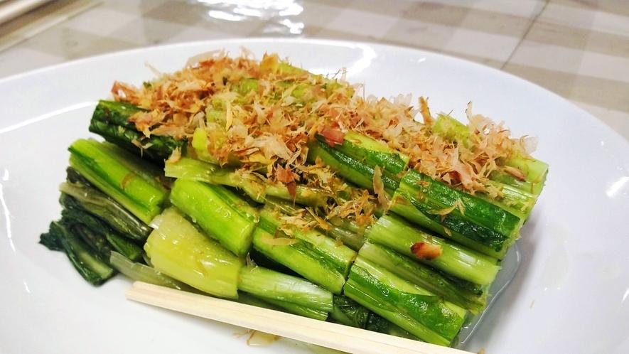 自家製の野沢菜(ご自由にお取りいただけます)