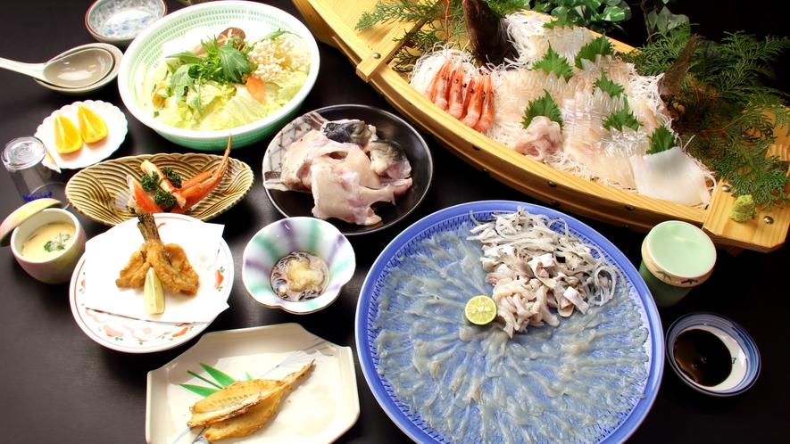 若狭フグのフルコース+舟盛付きプランのイメージです。福井のトラフグと舟盛を贅沢にご堪能