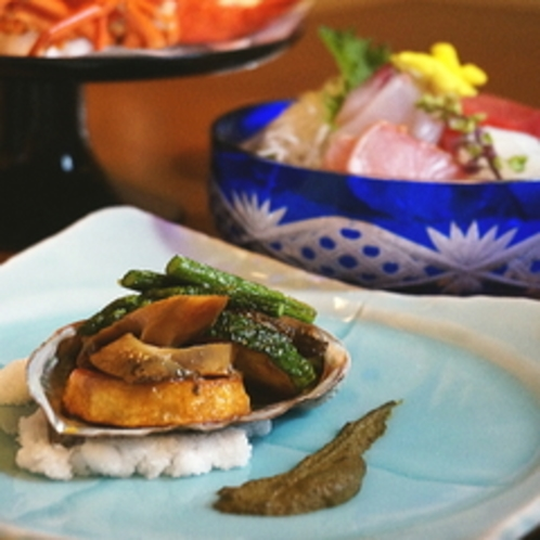 【ご夕食一例】とある日のあわび料理