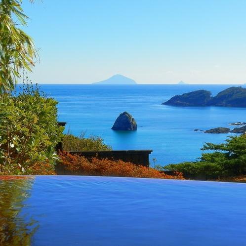 【陶器】海を臨むプライベート露天風呂付客室、和室10畳。