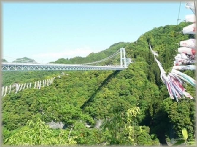 竜神峡 本州一長い吊り橋があり、新緑の鯉のぼりが見事