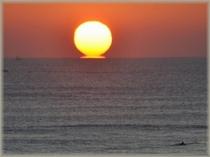水平線から離れる瞬間の太陽