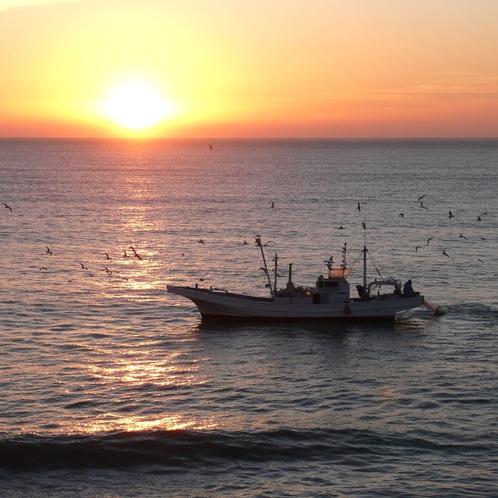 55客室から見た水木海岸の日の出とシラス漁