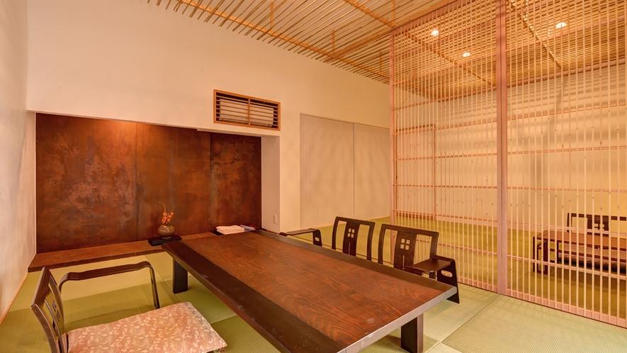 *【和室「大国」】独創的な雰囲気の中にも心地よさを追求した和の空間に感動と安らぎを覚える。