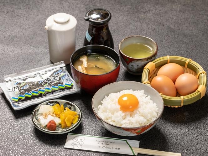 朝食一例 卵かけごはんセット