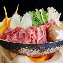 【前沢牛のすき焼き】※前沢牛プランで、基本は「陶板焼き」ですが「すき焼き」に変更可能です。