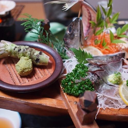 ■ご夕食 一例 【鯵のお造り】